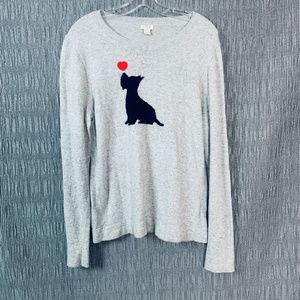 J Crew Womens sz XL gray dog Heart wool sweater